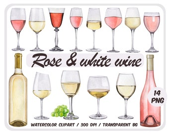 Watercolor white and rose wine clipart - Alcoholic Drinks - Wine Glasses graphics -bottle clip art-wedding illustration png-Instant download