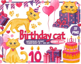 Watercolor Birthday cat clipart-baby girl kitty-happy birthday kitten party-pink red purple clip art-Transparent Background-INSTANT DOWNLOAD