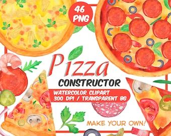 Watercolor pizza constructor clipart - Make own pizza - Italian food clip art - Watercolor Party Food-food graphics - Instant download