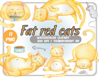 Watercolor Red Fat cats clipart-Cute cats with mice-Plump Kittens clip art-Watercolor pastel colors -Transparent Background-INSTANT DOWNLOAD