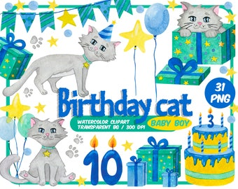 Birthday cat baby boy Watercolor clipart - kitty happy birthday party - grey Kitten blue green yellow clip art - Transparent Background
