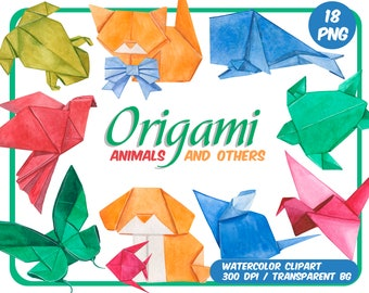 Watercolor Origami Animal clipart - Origami clip art-Japanese paper craft-Watercolor origami - Instant download PNG - Transparent Background