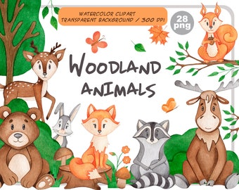 Watercolor woodland animals clipart-Cute Forest Animal Clip Art-Little wild fox, racoon, deer, bear, hare, moose, squirrel- Instant Download