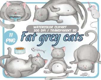 Watercolor Fat grey cats clipart-Cute cats with mice-Plump Kittens clip art-Watercolor pastel colors-Transparent Background-INSTANT DOWNLOAD