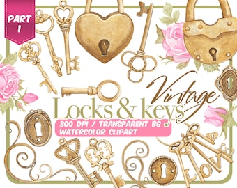 Watercolor vintage Keys and locks clip art-Bronze Antique Keys, keyholes and locks with flowers and hearts-wedding-old romantic keys-Instant