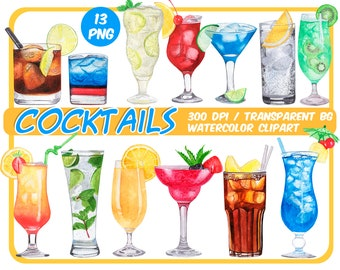 Watercolor tropical Cocktails clipart - Alcoholic Drinks clipart - summer cocktail graphics - Summer Party -beach png files-Instant download