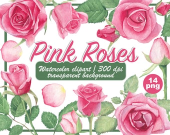 Watercolor pink roses clipart - Dusty Pink Blush Light Floral Clip Art - pastel vintage roses - watercolour wedding flowers-Instant Download