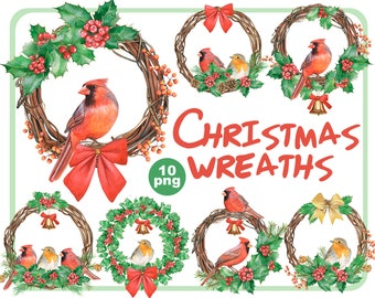 Watercolor Christmas wreath clipart-winter birds clip art-Red cardinals, Robin birds, Holly leaves and berries, pine cone-Instant download