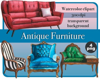 Watercolor Antique Furniture Clipart-interior designer chairs-Sofa, couch, armchair ClipArt-Hand Painted Furniture- baroque-Instant Download
