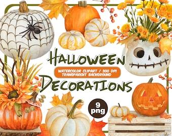 Watercolor Halloween decorations Clipart -Halloween white Pumpkin Clip Art-fall clipart-pumpkin face png-Halloween Stickers-Instant Download