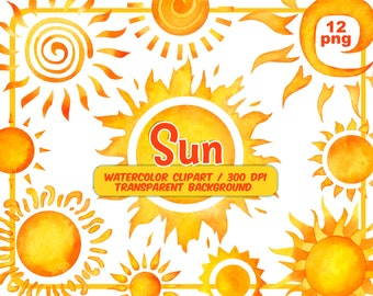 Watercolor Sun Clipart - Summer Sunshine Clip Art-Hand Painted Yellow and orange warm sun-vacation planner png - Invitation-Instant Download
