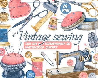 Watercolor vintage sewing clip art -sewing machine-scrapbooking-Branding kit-retro scissors buttons - needlework -stitching-Instant download