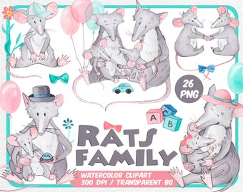 Watercolor Rats family clipart - Animal clipart - Mouse Mice Father Mother Baby - Mother with kids - Babyshower mousy-Transparent Background