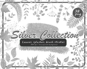 Silver leaves clipart-silver fall-silver branches png-silver Paint Splatter Clipart-Sparkle silver Brush Strokes-Instant Download