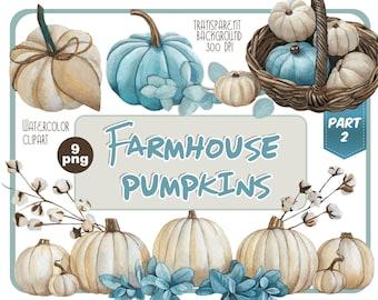 Watercolor Farmhouse pumpkins clipart-Halloween clip art-thanksgiving day png-white blue Pumpkin decor-pastel fall clip art-Instant Download
