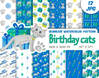 Watercolor Birthday cat baby boy seamless patterns - kitty happy birthday party - digital scrapbook paper background-Instant download