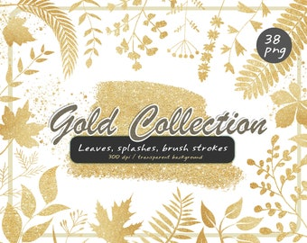 Gold leaves clipart-gold fall-Gold branches png-Gold Paint Splatter Clipart-Sparkle Gold Foil Confetti-Gold Brush Strokes-Instant Download