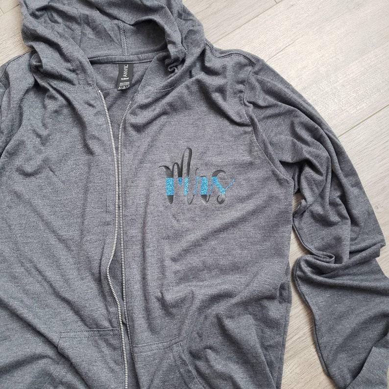 Mrs Thin blue line lightweight zip up hoodie