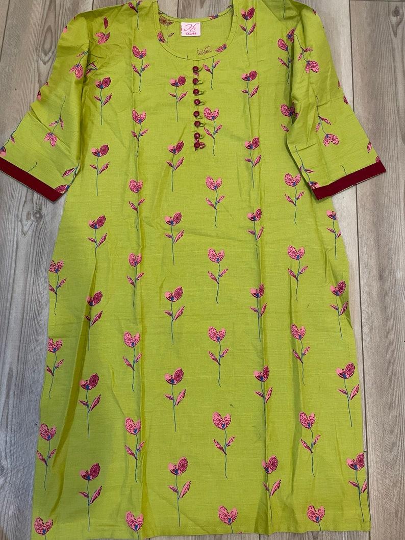 Indian women cotton daily wear Kurti 42 size casual regular dress Kurti leggings
