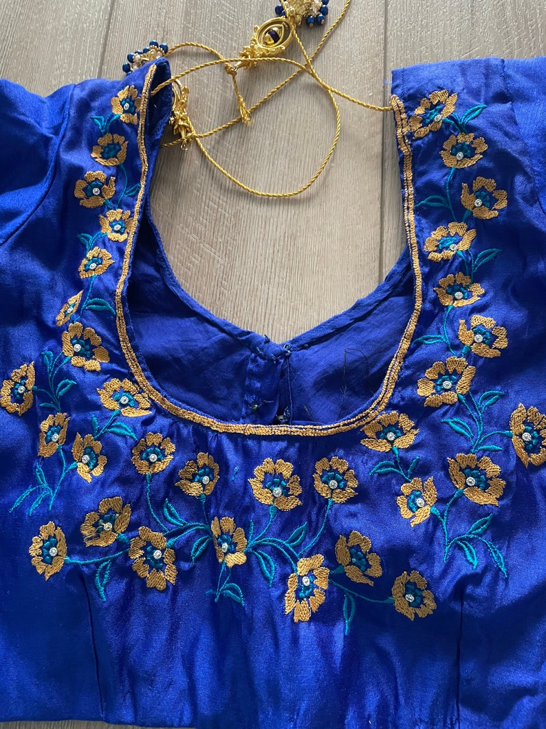 Indian Women royal blue color  designer stitched blouse festive wedding party wear Saree blouse embroidery blouse