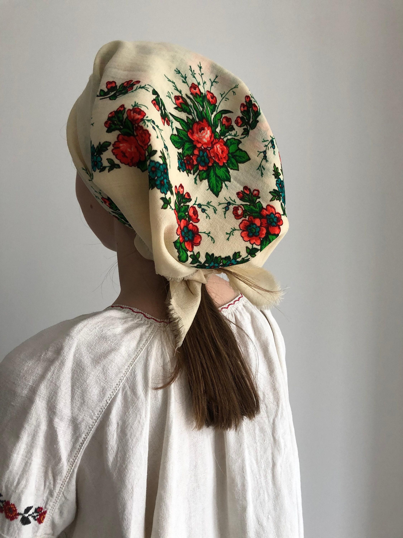Vintage Scarf Styles -1920s to 1960s Ukranian Shawl Wool Vintage Intage 100 Wool Babushka Style With Fringes Folk Ethnic Soviet $10.00 AT vintagedancer.com
