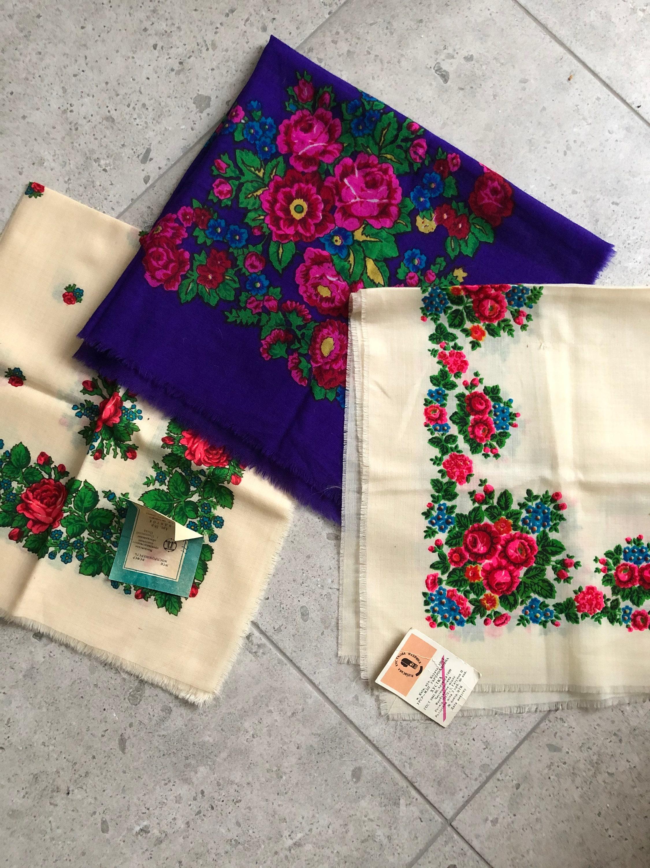 Vintage Scarf Styles -1920s to 1960s Ukranian Shawl Wool Vintage Intage 100 Wool Babushka 3 Pcs With Fringes Folk Ethnic Soviet $19.00 AT vintagedancer.com