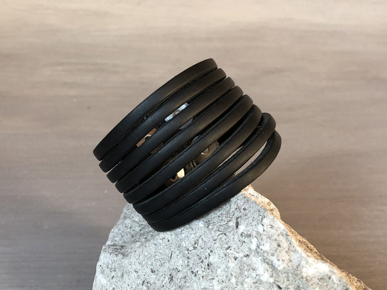 Made in Italy Full Grain Leather Section Cut Bracelet Black Leather Wide Multi Cut Bracelet for Men and Women Solid Brass Hardware