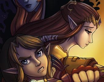 Zelda Twilight Princess Midna Link Art Print 11x17 in