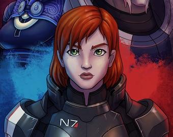 Mass Effect FemShep Garrus Talizorah Print 11x17 in