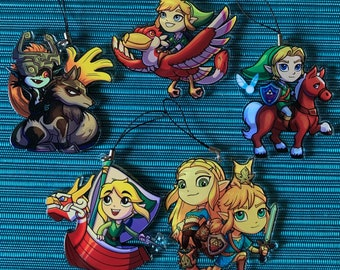 Chibi Legend of Zelda 3in. Acrylic Charms (FREE 1in. Button with every purchase)