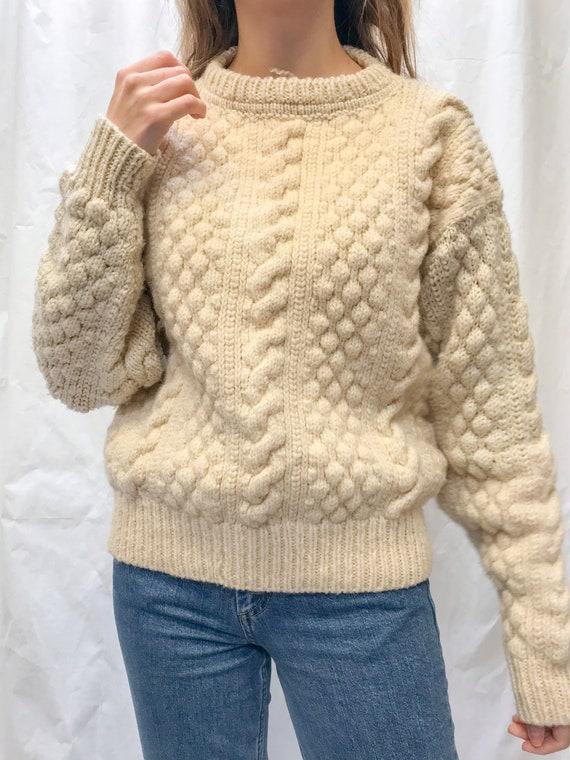 Vintage popcorn knit wool jumper