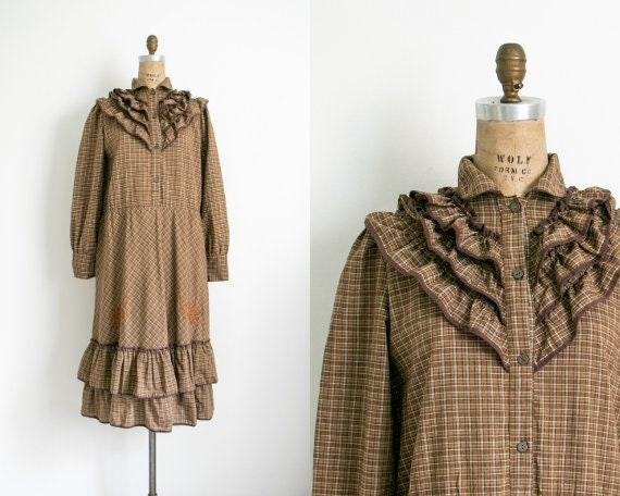 Vintage brown checked frill dress
