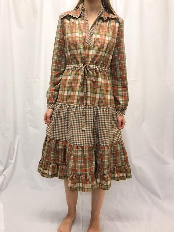 Vintage checked cotton smock dress