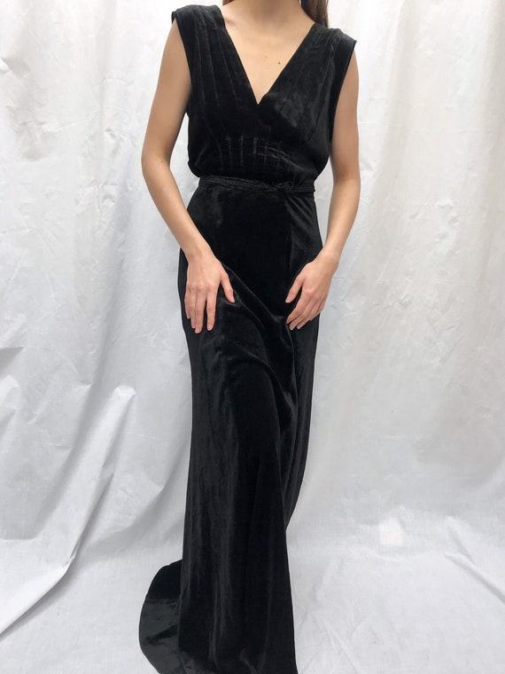 Vintage 1930s pintucked velvet dress