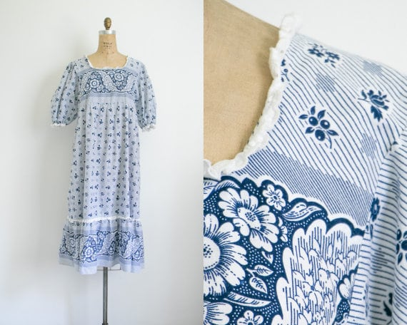 Vintage blue floral prairie dress