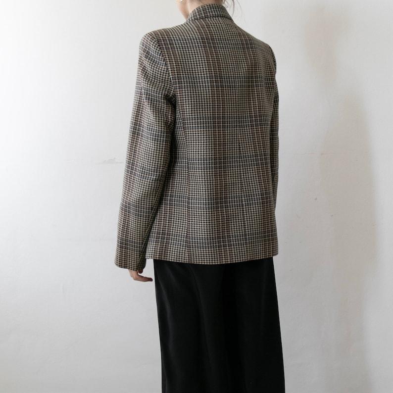 Vintage houndstooth check wool blazer