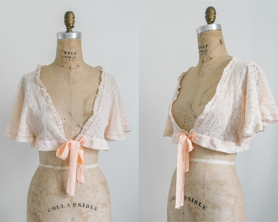 Vintage 30s lace bed jacket