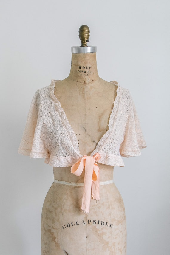 Vintage 30s lace bed jacket - image 2