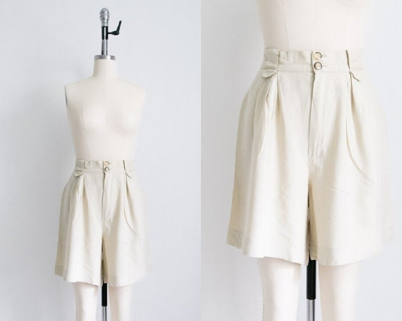 Vintage linen blend bermuda shorts (31w)
