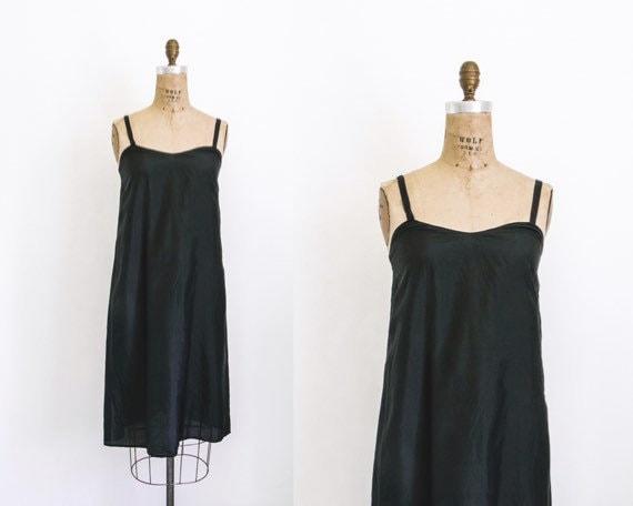 Vintage black pure silk slip