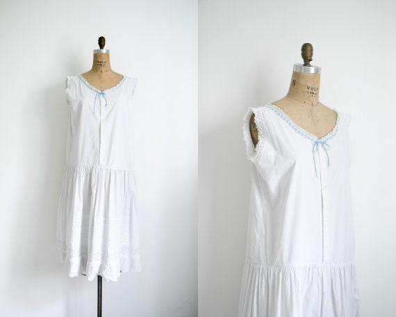 Vintage 1920s blue ribbon chemise