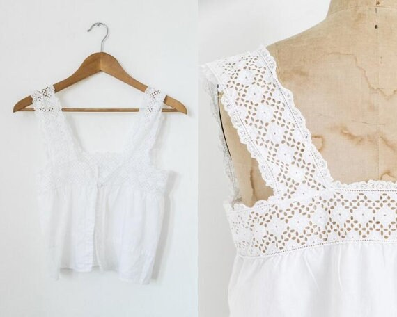Antique cropped crocheted camisole