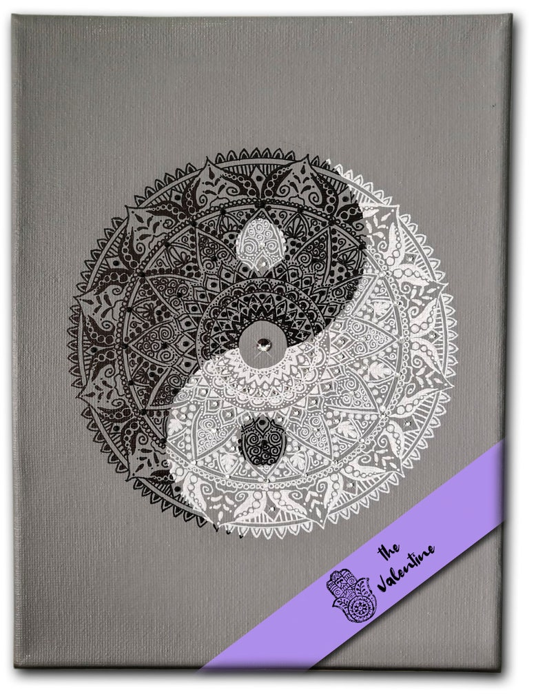 Hand-drawn Magic Mandala painting Ying Yang Acrylic on image 0