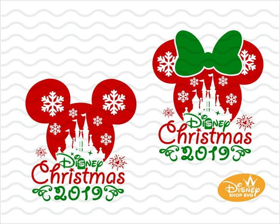 Christmas Minnie Mouse Disneyland.Disney Christmas Svg Mickey Minnie Mouse Disneyland Castle Silhouette Winter Design With Snowflakes Cut Files For Cricut Dxf Png Eps