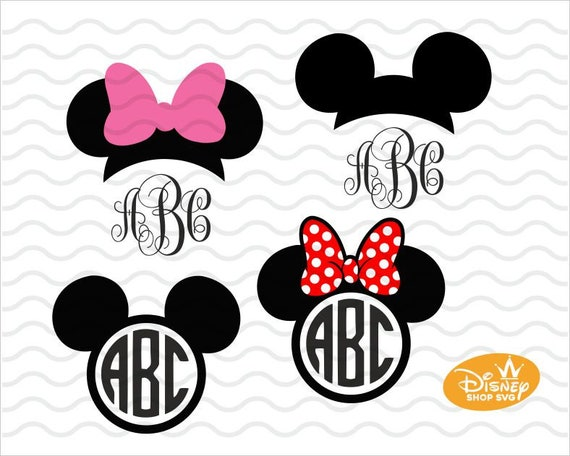 Minnie Mouse Monogram Svg Vinyl Cutting File Mickey Bow Etsy