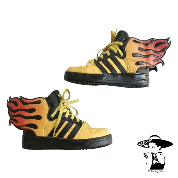 Vintage 90's Sneaker Adidas Jeremy Scott Flames Wings 2.0 Hot Rod Flame Fire Rare Size5us FREESHIPPING
