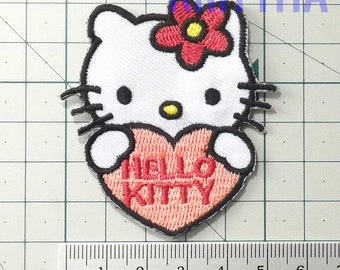 6e84b2d81 1 piece hello kitty pink heart cat pussy embroidery embroidered iron on sew  patches badge applique cap jean jacket shirt pants