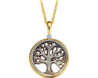 I02 Pendant Necklace Clover Mother of Pearl Green Jade Silver 925 Gold Plated