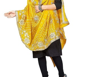 1319cebdb1 Rajasthani Women Silk Bandhani Bandhej Yellow-Colored Heavy Dupatta with  Gota patti Work indian dupatta