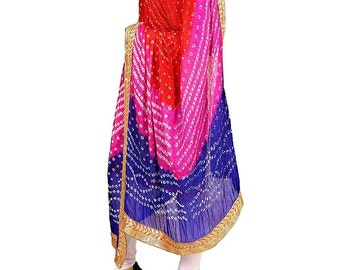 e5cc29a4bd Bandhani Dupatta with Gota Patti Border bandhej dupatta Stole Scarf multi  color Silk Rajasthani Traditional indian dupatta